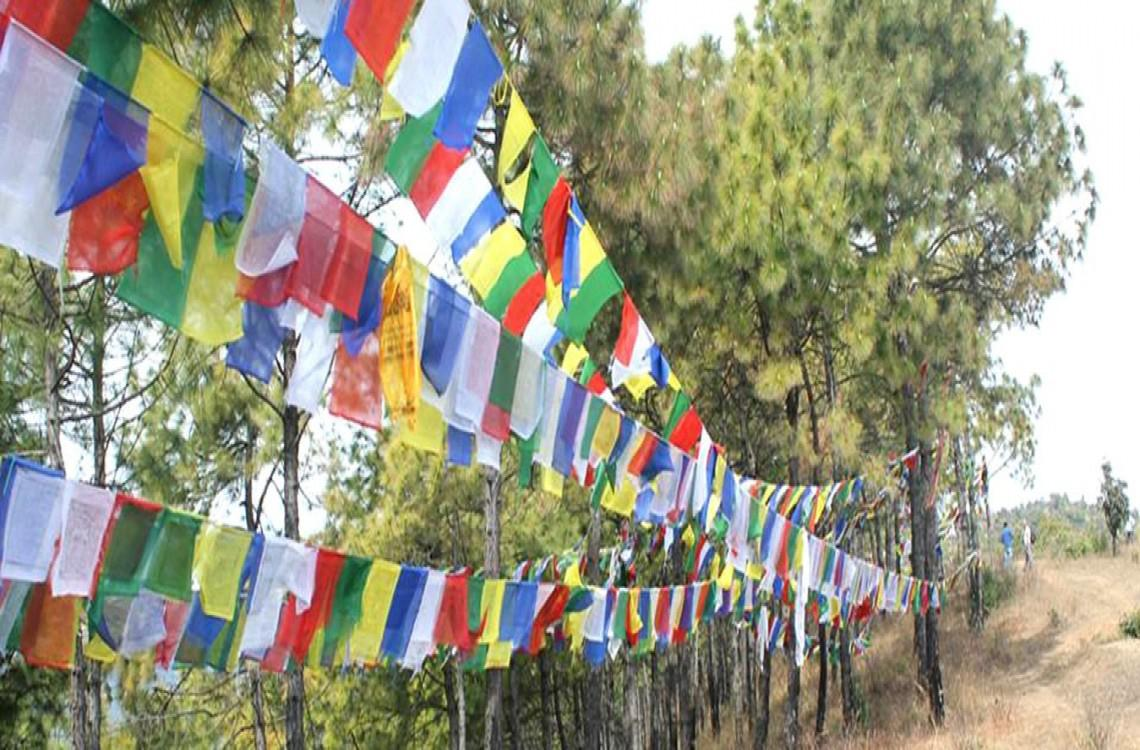 Prayer flags at the top