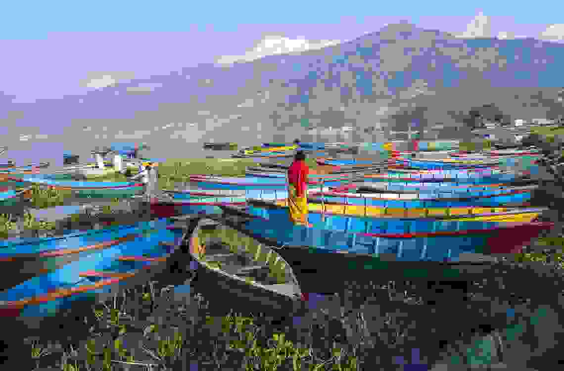 Idle boats in Fewa Lake-Pokhara